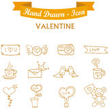 Collection orange icon valentine days. Vector art Stock Image