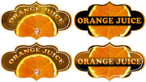 Collection of Orange Juice Labels Royalty Free Stock Photos