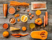 Collection of orange objects, oranges, pumpkin, topview royalty free stock image
