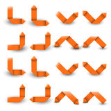 Collection of the orange paper arrows Stock Image