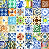 Collection of orange patterns tiles Stock Photo