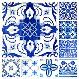 Collection of orange patterns tiles. Photographe of 8 traditional portuguese tiles in different colours and patterns Royalty Free Stock Image
