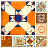 Collection of orange patterns tiles. Photographe of 8 traditional portuguese tiles in different colours and patterns Royalty Free Stock Photo