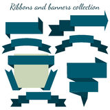 The collection of  orange retro ribbons banners Royalty Free Stock Images