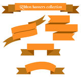 The collection of  orange retro ribbons banners Stock Image