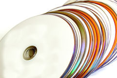 Collection of Orange and White Compact Discs Royalty Free Stock Photos