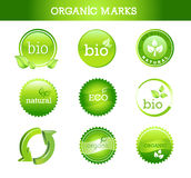 Collection of Organic Marks. Collection of Stamps and Marks with Ecological Themes Royalty Free Stock Images