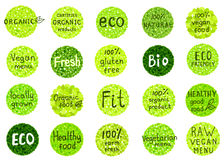 Collection  of  organic, natural, bio,farm, healthy food  badges Stock Photo
