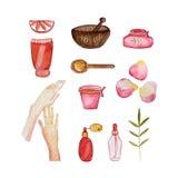 Collection organique de cosmétiques, aquarelle illustration libre de droits