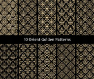 Collection of orient golden vector patterns on black background. Royalty Free Stock Photography