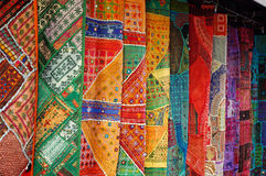 Collection of oriental fabrics stock images