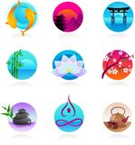 Collection of oriental style icons. A set of icons in Chinese, Japanese and Indian style - spirituality and wellness theme Royalty Free Stock Images