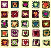 Collection of original drawing doodle hearts. Royalty Free Stock Photos