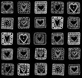 Collection of original drawing doodle hearts. Royalty Free Stock Photography