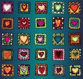 Collection of original drawing doodle hearts. Stock Photography