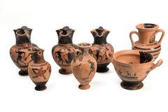 Collection of original Greek vase from archaeological Stock Photos