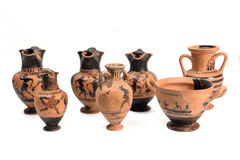Collection of original Greek vase from archaeological stock image