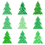 Collection of original green spruces.Vector illustration Royalty Free Stock Photos