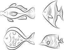 Collection of original stylised fishes. Royalty Free Stock Photography
