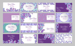 Collection of ornamental business cards. Big set of sixteen horisontal ornamental business cards. Paisley Stock Photo