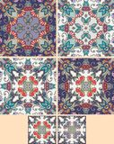 Collection of ornamental ceramic tiles. Moroccan motif.  royalty free illustration