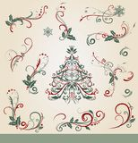 Collection of ornamental Christmas decorations. In vintage style Stock Image