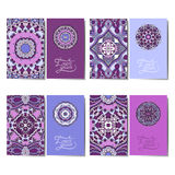 Collection of ornamental floral business cards, Stock Images