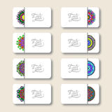 Collection of ornamental floral business cards, Stock Image