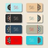 Collection of ornamental floral business cards, Royalty Free Stock Photos