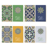 Collection of ornamental floral business cards, royalty free illustration