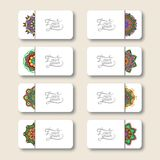 Collection of ornamental floral business cards Stock Images