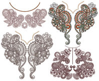 Collection of ornamental floral neckline Stock Photo