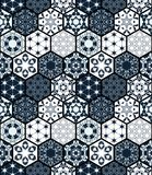 Collection of ornamental hexagonal tiles. Vector seamless patchwork pattern. Portuguese moroccan motif. Unusual flourish print stock illustration