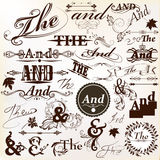 Collection of ornate vector Ands and thes perfect for headlines Royalty Free Stock Photo