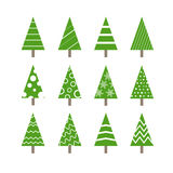 Collection ornementée par résumé d'arbres de Noël Images libres de droits