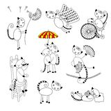 Collection of outline cats Royalty Free Stock Photos