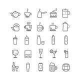 Collection of outline drinks icons for web and mobile apps Stock Images