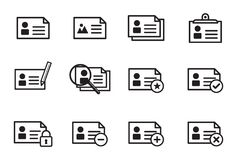Collection of outline minimal icons, user concept. Set of modern minimal outline style icons, online web icons, user interface concept Stock Image
