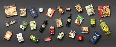 Collection of packaged food on grey background. 3d illustration. Collection of packaged food isolated on grey background. 3d illustration royalty free illustration
