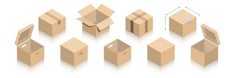 A collection of packages with a mirror shadow. royalty free illustration