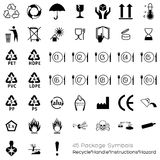 Collection of 45 Packaging Symbols Stock Images