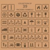 Collection of packing simbols on backgrownd Royalty Free Stock Image