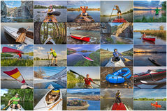 Collection of paddling pictures from Colorado Royalty Free Stock Photos