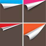 Collection of pages curl corner vector.  Stock Photography