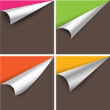 Collection of pages curl corner vector.  Stock Images