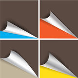 Collection of pages curl corner vector. Isolated Royalty Free Stock Image