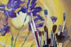 Collection of Paint Brushes Royalty Free Stock Image