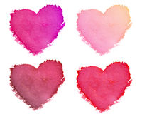 Collection of paint hearts on white background Stock Image