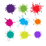 Collection of paint splash. Vector set  brush strokes. Isolated on white background Stock Image