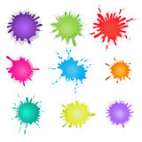 Collection of paint splash. Vector set  brush strokes. Isolated on white background Royalty Free Stock Image